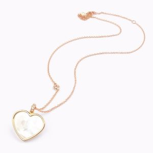 Nacre and diamonds Heart pendant