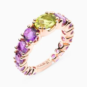 Rose gold ring with peridot and amethysts