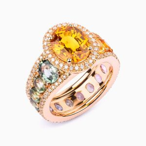 Ring with sapphires and diamonds