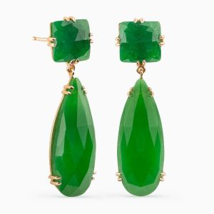 Earrings in Green Jade