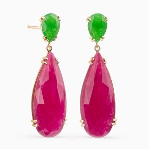 Earrings in Red and Green Jade