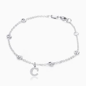 Letter C in Pave Setting with Diamonds Bracelet