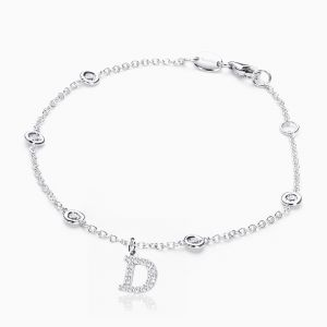 Letter D in Pave Setting with Diamonds Bracelet
