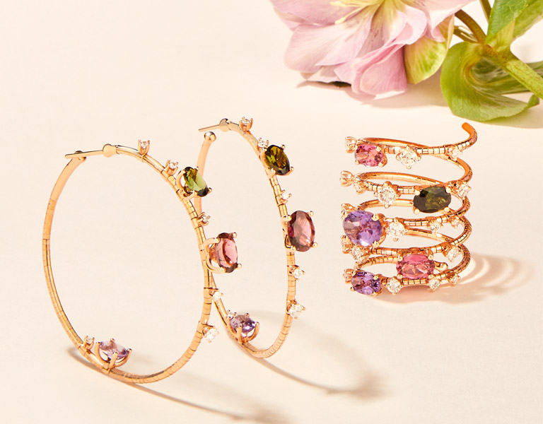 Gold jewelry and precious gems