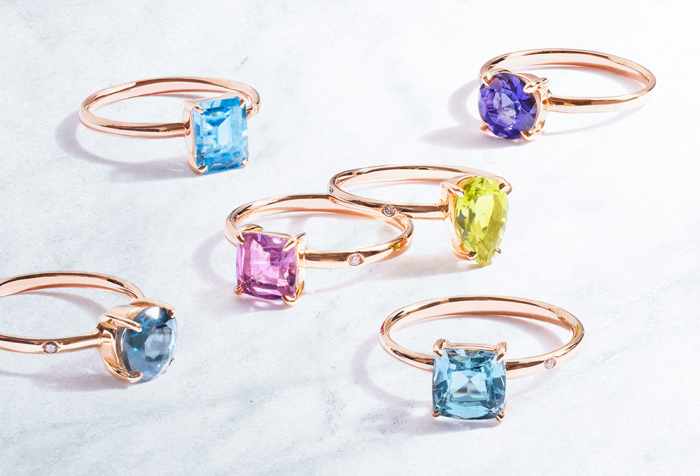 Color Gemstones Gold Rings